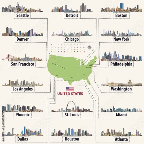 vector map of United States of America with largest cities\' skylines ...