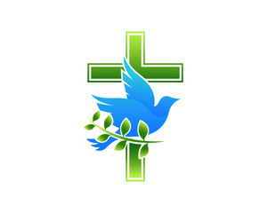 Modern Church Logo - Dove Cross