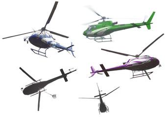 helicopter set isolated on white background