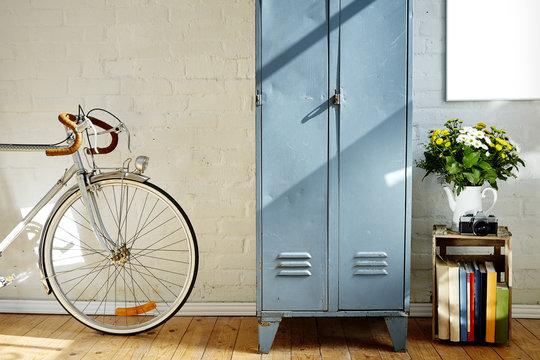 vintage metal locker bike and vivid decoration in whitebrick studio