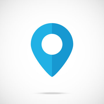 Vector blue map pointer, map pin icon. Modern flat design vector icon