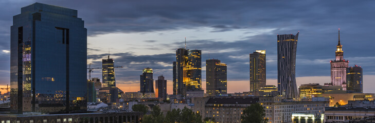 Warsaw city downtown panorama