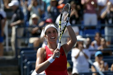 Johanna Konta of Britain celebrates after defeating Andrea Petkovic of Germany in their match at the U.S. Open Championships tennis tournament in New York