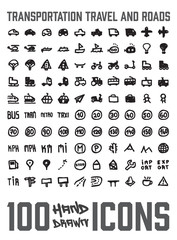 Set of 100 Transportation themed hand drawn / doodled icons. You can see various vehicles, street signs and more. Grouped, ready to quick use!