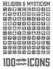 Set of 100 Religion and Mysticism hand drawn / doodled icons. You can see religion and zodiac signs and more! Grouped, ready to quick use!