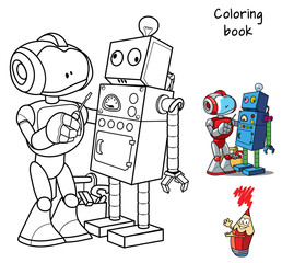 New robot with a screwdriver repairs an obsolete broken robot. Coloring book. Cartoon vector illustration