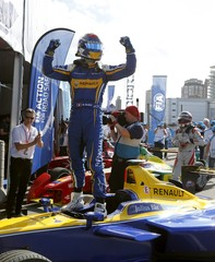 Sebastien Buemi of Renault e.Dams celebrates on his car after winning the race of the E Championship in Punta del Este