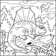 Cartoon funny Dimetrodon, coloring book