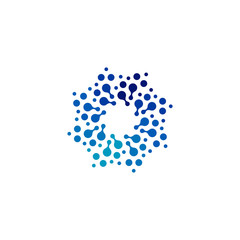 Isolated abstract round shape blue color logo, dotted logotype, water element vector illustration on white background