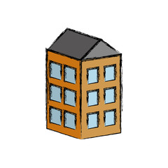 apartaments building icon over white background vector illustration