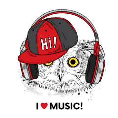 Funny owl with headphones and a cap. Vector illustration for a postcard or a poster, print for clothes. Bird.