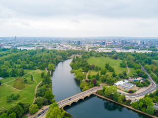 Fototapete - Aerial Hyde park view in London
