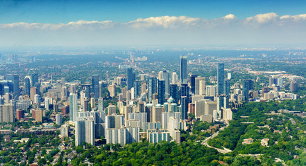 Panoramic, city and elevated view at day, Toronto, Ontario, Canada.