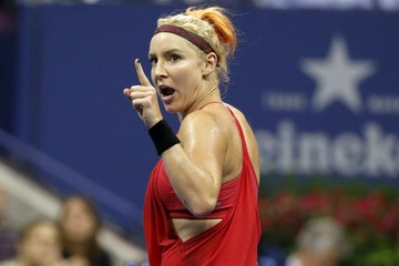 Mattek-Sands of the U.S. reacts during her match with Williams of the U.S. at the U.S. Open Championships tennis tournament in New York