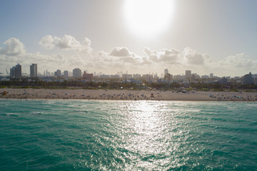 Aerial panorama of Miami Beach Memorial day Weekend