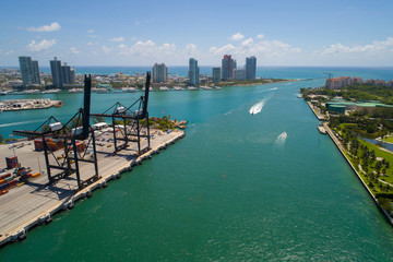 Aerial image of Miami Beach port and Fisher Island Atlantic Ocean