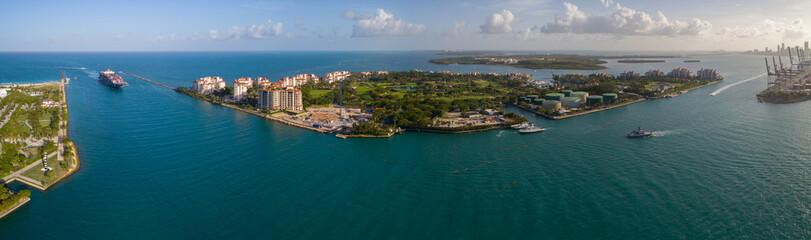 Aerial panorama Fisher Island Miami Beach