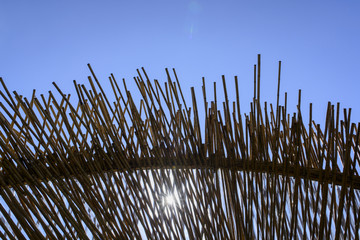 modern design big pergola with bamboo sheet