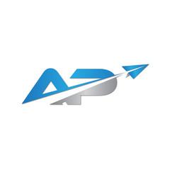 initial letter AP logo origami paper plane
