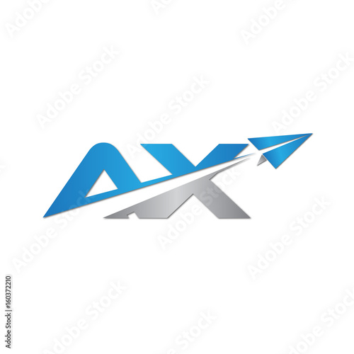 Initial Letter AX Logo Origami Paper Plane