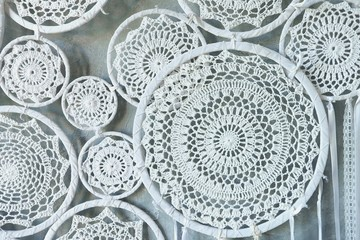 Beautiful delicate white lace woven in circles