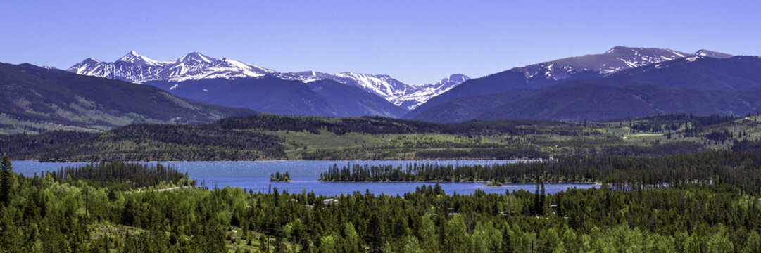 """Panoramic view of """"The Summit"""" and Dillon Reservoir near Silverthorne, Colorado, just south of I-70"""