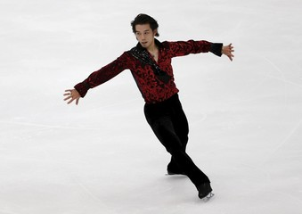 Takahito Mura of Japan performs during the men's singles short program at the ISU Grand Prix of Figure Skating in Nagano, Japan