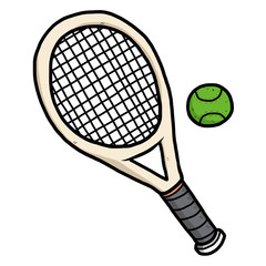tennis ball and racket / cartoon vector and illustration, hand drawn style, isolated on white background.