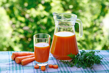 Carrot juice in a glass and jug, slices of fresh carrots on a natural green background