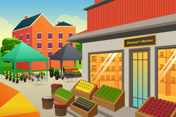 Farmers Market Background Illustration