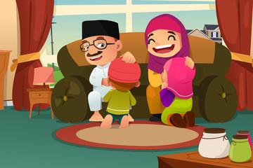 Muslim Family Celebrating Eid Al Fitr