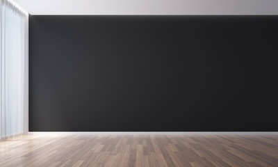 The 3D rendering interior scene design of Empty room and black wall living room
