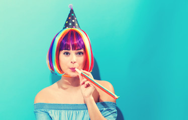 Wall Mural - Party theme with woman in colorful wig