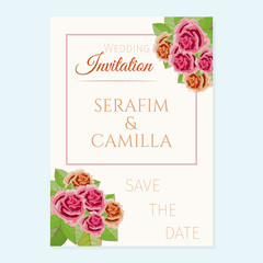 Wedding invitation executed in pastel tones and decorated by roses.