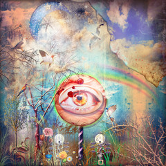 Magic mushroom in the enchanted forest of the eden