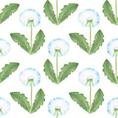 Dandelion, watercolor seamless floral pattern 1