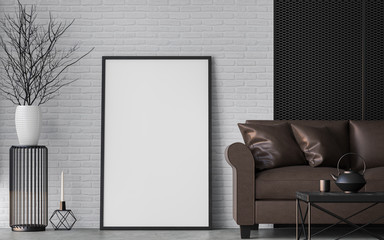 Modern loft living room 3d rendering image Furnished with dark brown leather and black steel furniture has white brick walls and  steel grating