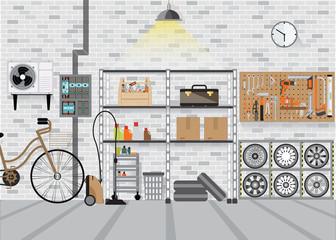 Modern interior storage room with metal shelf.
