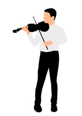 Vector, silhouette man playing the violin