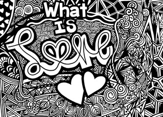 Vector pattern with zentangle background, vintage style for Valentines day greeting print