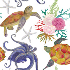 Watercolor painting seamless pattern with octopus, turtles, starfish and rose flowers, corals. Romantic background