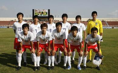 Korea Republic's team lineup before the game