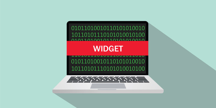 widget concept sign illustration with laptop and text on the screen