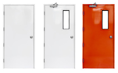 Variation of fire exit door in condominium or apartment for emergency fire alarm, isolate on white