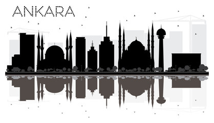 Ankara City skyline black and white silhouette with reflections.