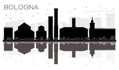 Bologna City skyline black and white silhouette with Reflections.