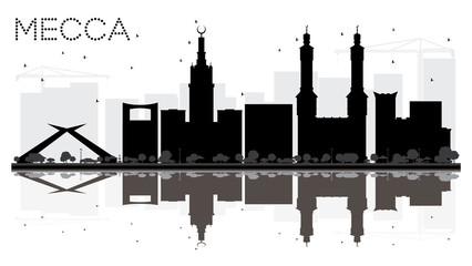 Mecca City skyline black and white silhouette with reflections.