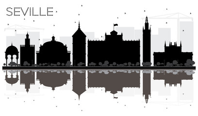 Seville City skyline black and white silhouette with reflections.