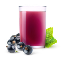 Isolated fruit drink. Glass of juice and black currant berries isolated on white background with clipping path