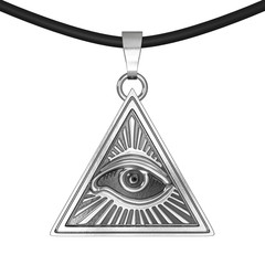 Masonic Symbol Concept.  All Seeing Eye inside Pyramid Triangle as Coulomb Amulet. 3d Rendering